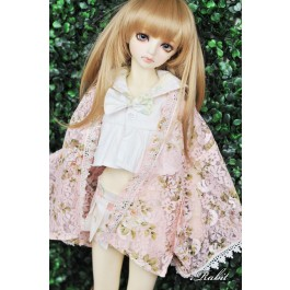 [Limited] 1/3 Haori Coat 羽織 - Floral Pink Lace