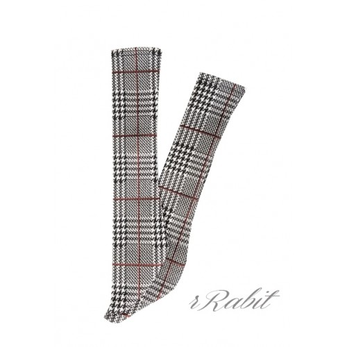 1/3 Boy short socks - AS003 012 (Houndstooth w/red)