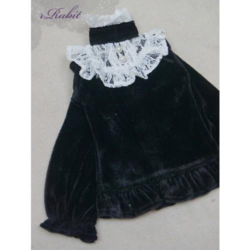 1/3 Velvet lace top - BSC020 1601  (Velvet Black with White lace)