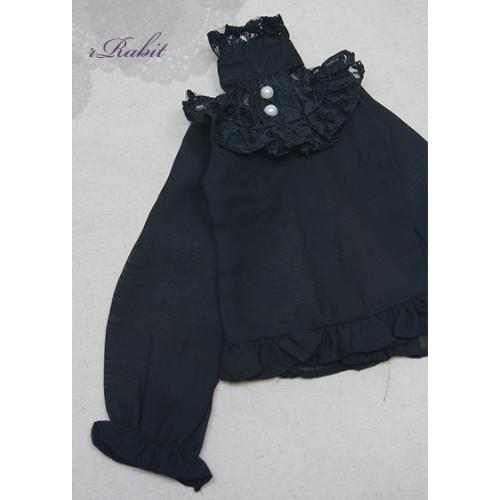 1/3 Chiffon lace top - BSC020 1609  (Chiffon Black with Black lace)