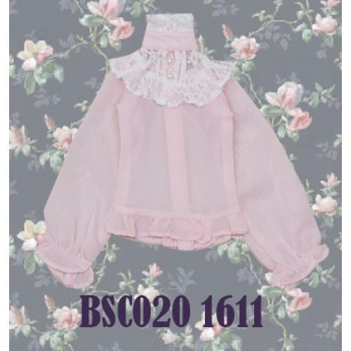1/4 Chiffon lace top - BSC020 1611 (Chiffon Pink with White lace)
