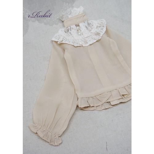1/3 Chiffon lace top - BSC020 1612  (Chiffon Khaki with Beige lace)