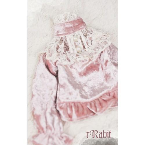 1/4 Velvet lace top - BSC020 1701  (Velvet Pink with Beige lace)