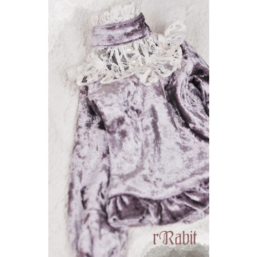 1/3 Velvet lace top - BSC020 1703  (Velvet Lavender with Beige lace)