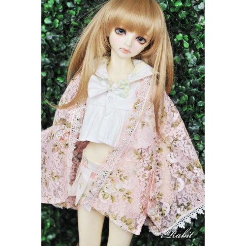 [Limited] 1/4 Haori Coat 羽織 - Floral Pink Lace