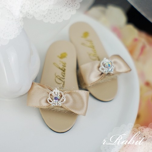 1/4 MSD MDD AngelPhilia- Crown & Ribbon high-heeled Sandals Plush shoes - CPS001 Coffee