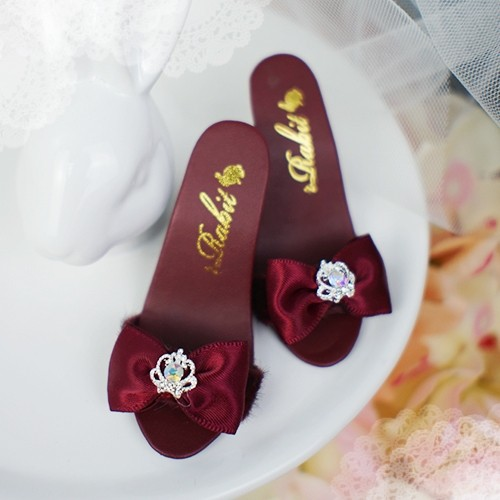 1/3 Girls SD16/13 DD - Crown & Ribbon high-heeled Sandals Plush shoes - CPS001 Wine