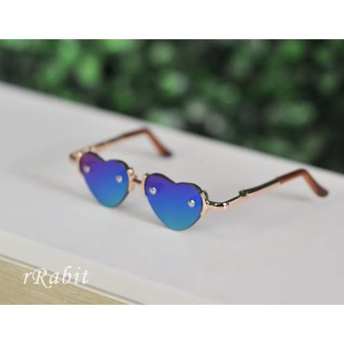 1/3 Sun Glasses - Heart Shape - Laser Blue