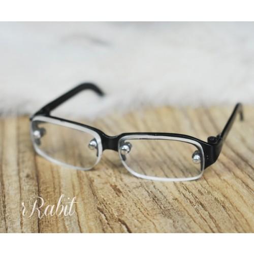1/3 Half Frame Glasses - Black