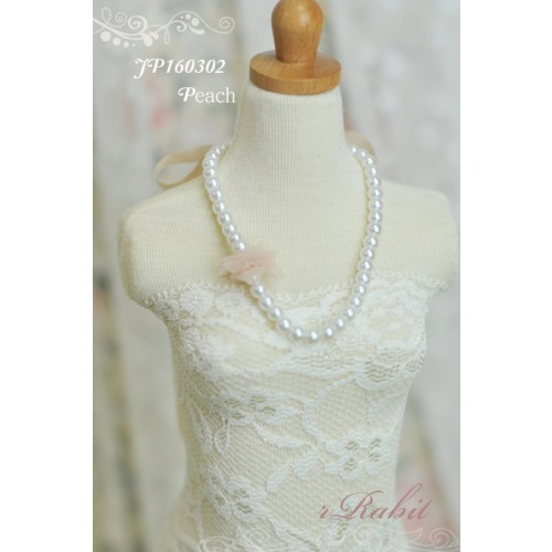 1/3 - Ribbon w/ Jewelry pearl necklace - JP160302 (Peach)