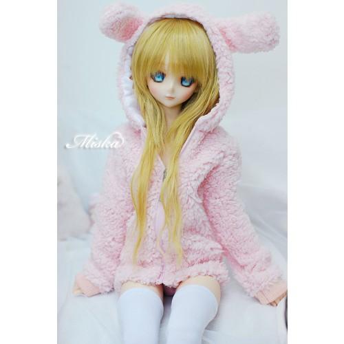 MISKA*1/3 Plush hoodie coat- MSK013 002 (Pink Rabbit)