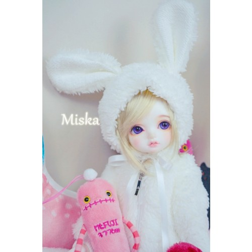 1/3 [Miska] Fuzzy Hat - MSK018 001 - White rabbit