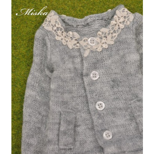 1/4 Round Neckline Sweater coat with lace MSK027 003