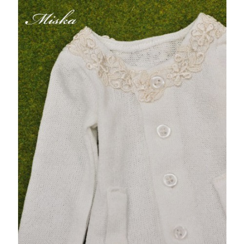 1/4 Round Neckline Sweater coat with lace MSK027 005