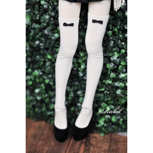 1/3 Ribbon socks - White sock Black ribbon R170501