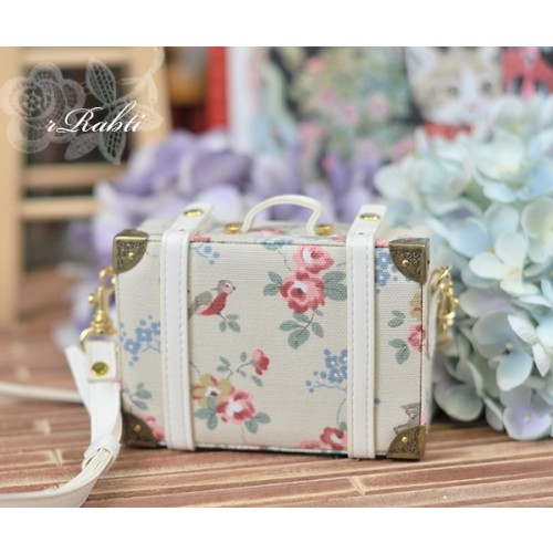 1/3 & 1/4 Suitcase - Floral Mori X White leather