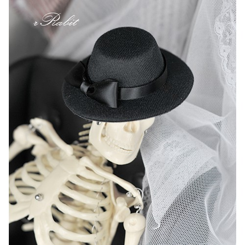 1/3 & 1/4 * ASH001 * Basic Black Hat w/ Ribbon