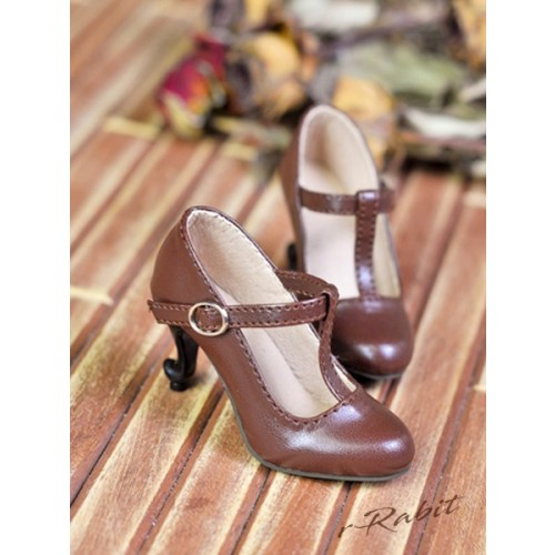 [Pre]1/3Girls Highheels/DD T-straps high heels [BLS009] - Candy Brown