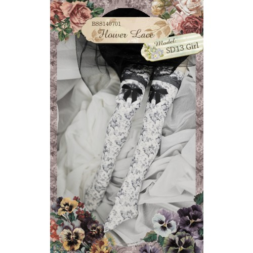 1/3 & 1/4 Socks BSS140701 Flower Lace