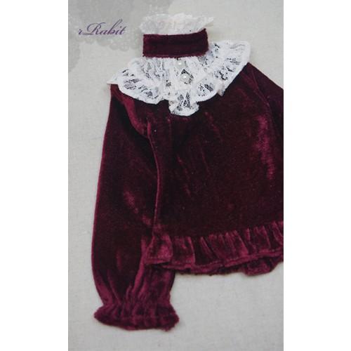 1/3 Velvet lace top - BSC020 1604  (Velvet Wine with Beige lace)