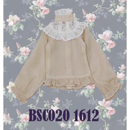 1/4 Chiffon lace top - BSC020 1612 (Chiffon Khaki with Beige lace)
