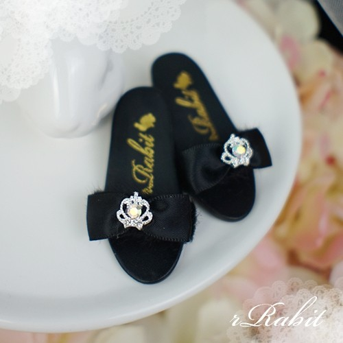 1/4 MSD MDD AngelPhilia- Crown & Ribbon high-heeled Sandals Plush shoes - CPS001 Black