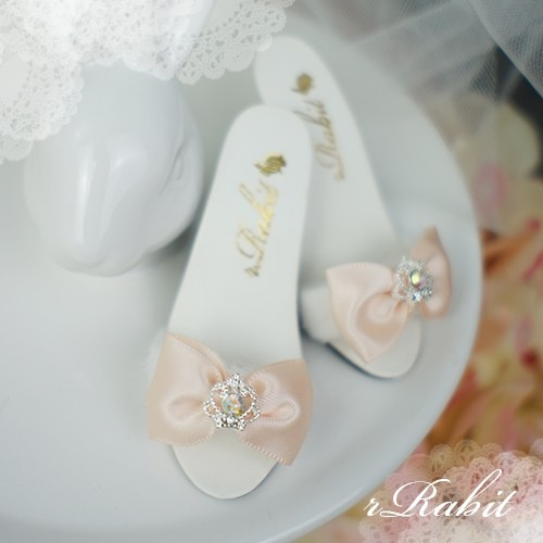 1/3 Girls SD16/13 DD - Crown & Ribbon high-heeled Sandals Plush shoes - CPS001 Light Peach