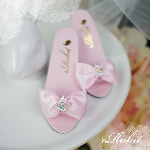 1/3 Girls SD16/13 DD - Crown & Ribbon high-heeled Sandals Plush shoes - CPS001 Pink
