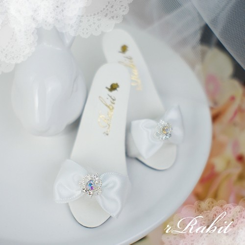 1/3 Girls SD16/13 DD - Crown & Ribbon high-heeled Sandals Plush shoes - CPS001 White