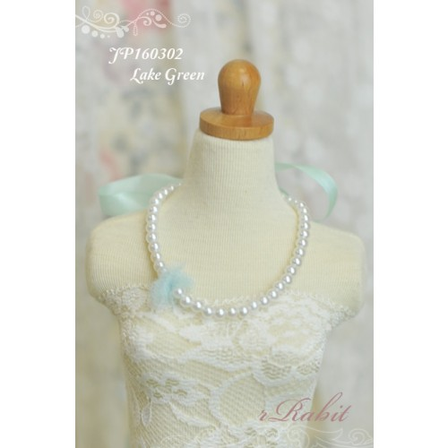 1/3 - Ribbon w/ Jewelry pearl necklace - JP160302 (LakeGreen)