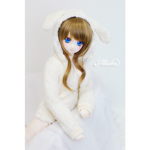 MISKA*1/3 Plush hoodie coat- MSK013 001 (White Rabbit)