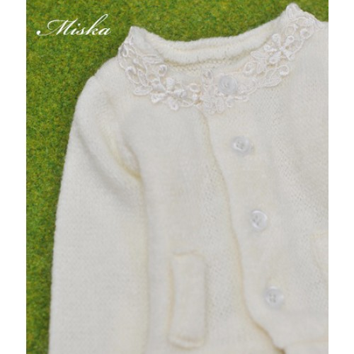 1/3 Round Neckline Sweater coat with lace MSK027 001