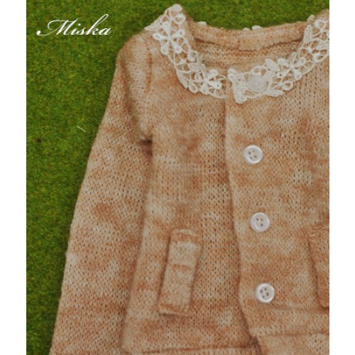 1/4 Round Neckline Sweater coat with lace MSK027 004