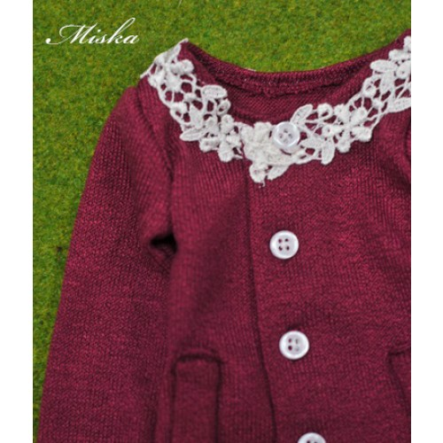 1/3 Round Neckline Sweater coat with lace MSK027 006