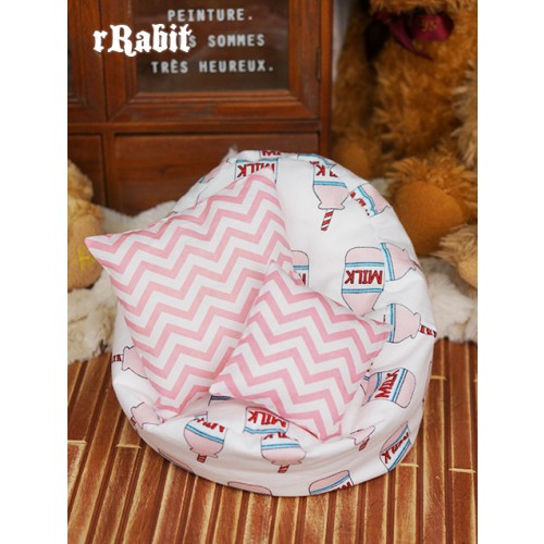 All size ★ Beanbag Sofa - Pink Milk +Cushion