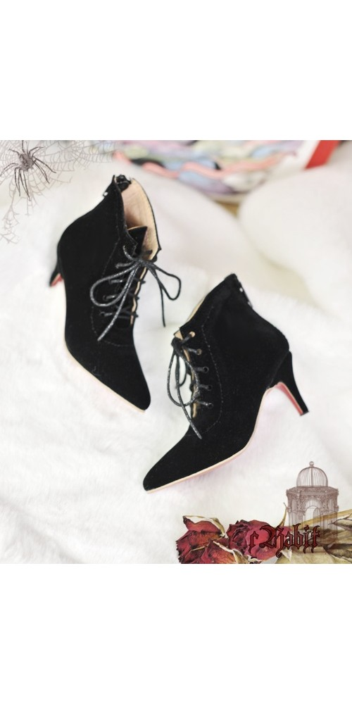 1/4 HighHeels/MDD/AP/Minifee/Unoa+ Pointed Toe Ankle Boots [Coven Three] - BlackVelvet