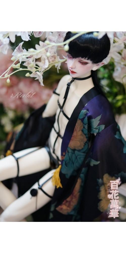 1/3 [百花萬華 ] Oiran Haori 花魁羽織 - 夜藍 TS003 004