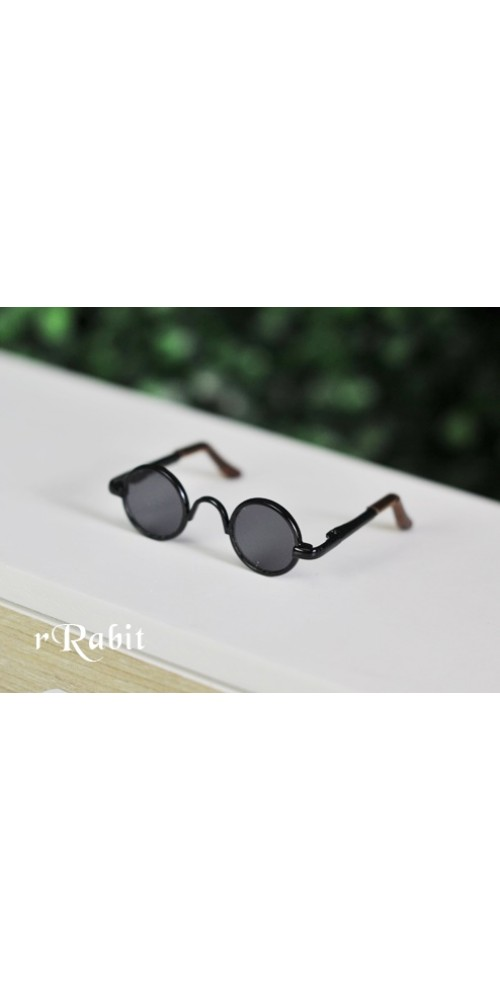 1/4 Sun Glasses - Circle Shape - Black