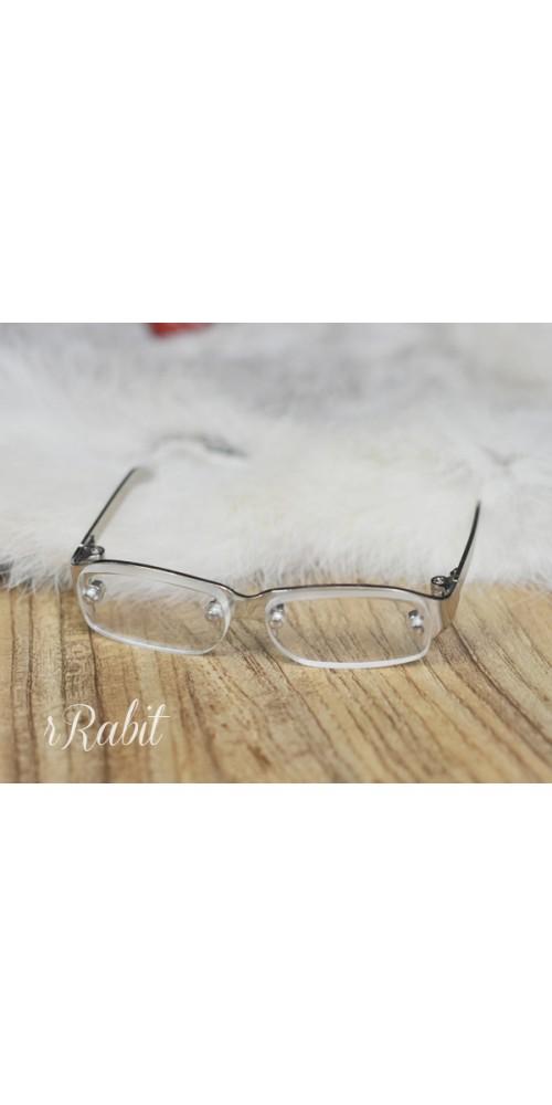 1/3 Half Frame Glasses - Sliver