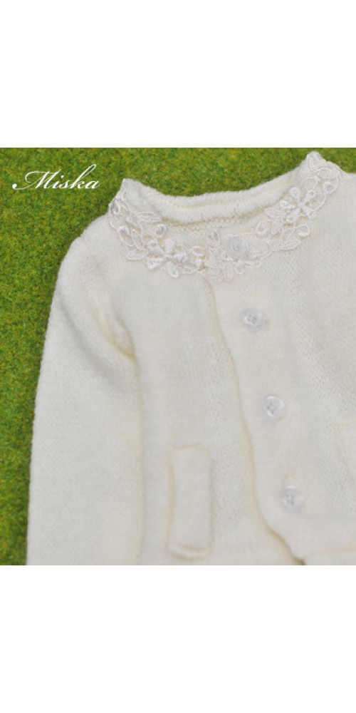 1/4 Round Neckline Sweater coat with lace MSK027 001