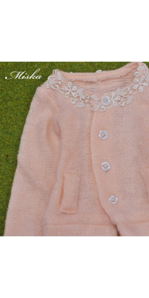 1/4 Round Neckline Sweater coat with lace MSK027 002