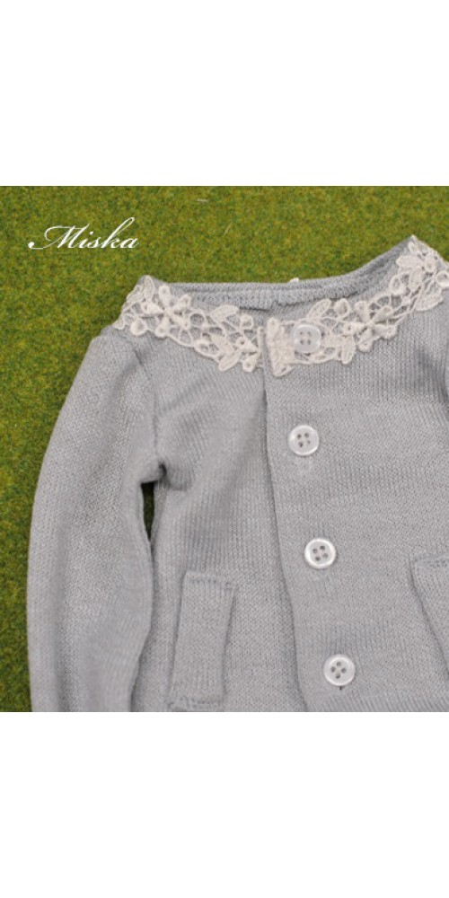 1/3 Round Neckline Sweater coat with lace MSK027 007