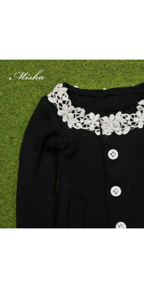 1/4 Round Neckline Sweater coat with lace MSK027 008