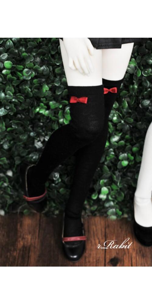 1/3 Ribbon socks - Black sock Red ribbon R170502