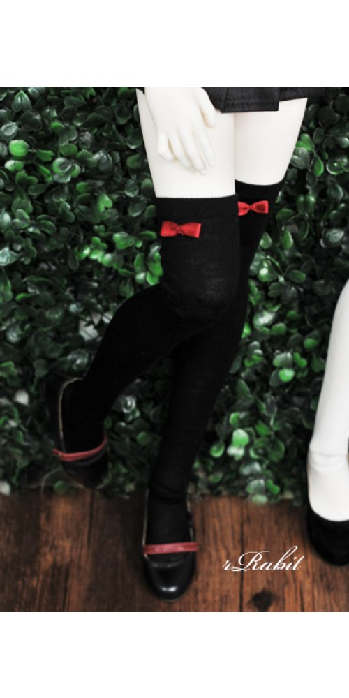 1/4 Ribbon socks - Black sock Red ribbon R170502