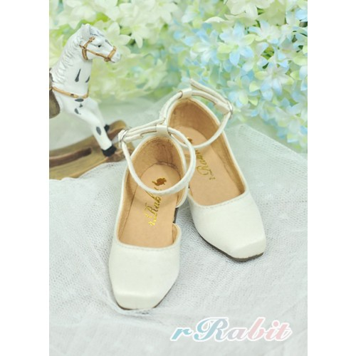 SD10/13 Girl BLS007 -  Creamy White - Square Mary Jane shoes