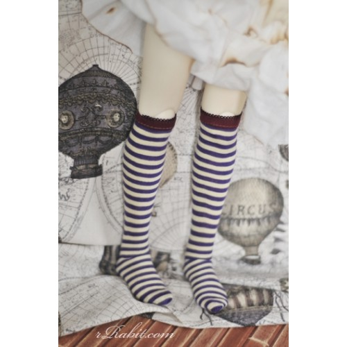 Socks - 130710 (Violet & yellow stripe )-1/3