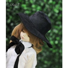 1/4[Witchcraft Academic] Wide Brimmed hat - AS006 003(Black suede)