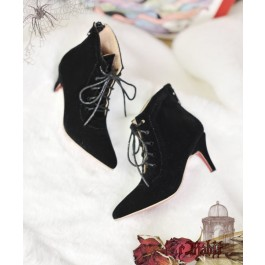 1/3 Girls Highheels /DD+ Pointed Toe Ankle Boots [Coven Three] - BlackVelvet