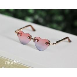 1/3 Sun Glasses - Heart Shape - Pink>Green